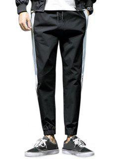 Pantalones De Cordón De Color Casual Con Contraste - Negro 2xl