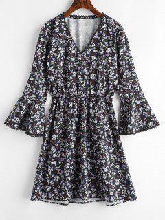 Floral Flare Ärmel A-Linie Kleid - Multi M