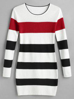 Color Block Striped Mini Sweater Dress - Multi-a