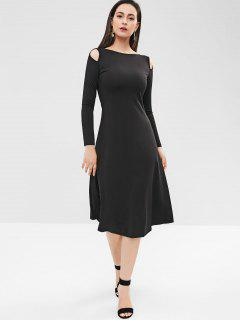 Cutout Long Sleeve Midi Dress - Black L