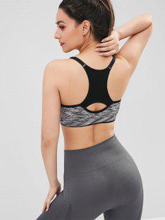 Heather Racerback Perforated Sports Bra - Dark Gray L