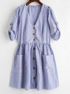 Button Up Striped Short Dress - Light Blue S
