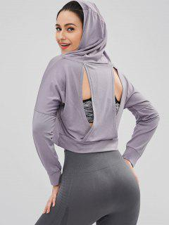 Drop Shoulder Perforated Crop Hoodie - Dark Gray L