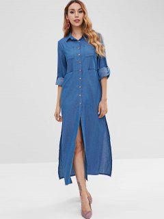 Side Slit Button Up Shirt Dress - Denim Blue M