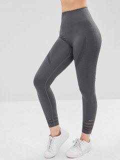 Hollow Out Capri Sports Leggings - Dark Gray Xl