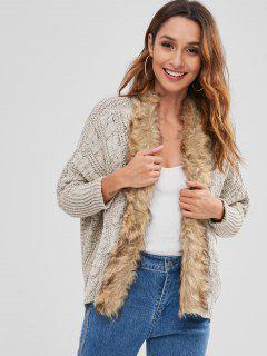 Faux Fur Lace Up Collarless Cardigan - Platinum