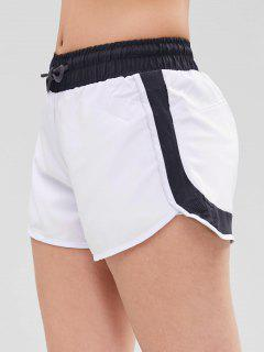 Perforated Insert Drawstring Sports Shorts - White L