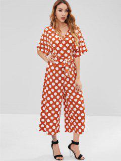 Polka Dot Wide Leg Jumpsuit - Orange Salmon M