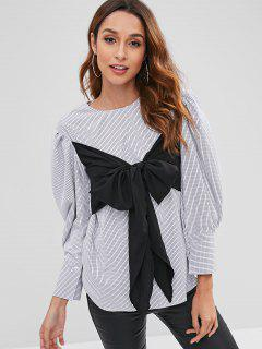 Puff Sleeve Wrap Tie Overlay Checked Blouse - Multi S