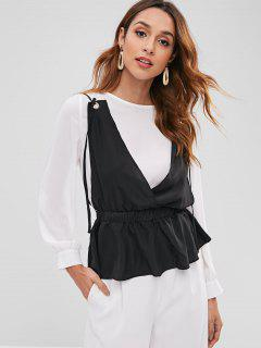Contrast Cami Overlay Chiffon Top - White M