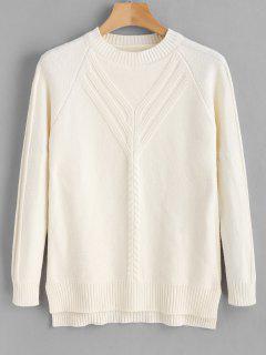 Suéter Cuello Redondo De Punto De Cable - Blanco