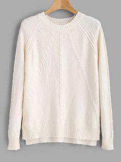 Cable Knit Cozy Raglan Sweater - Beige