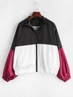 Shiny Color Block Dolman Sleeve Jacket - Multi