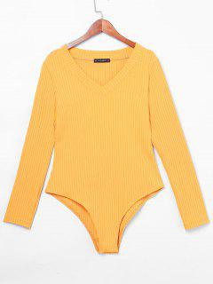 ZAFUL V Neck Ribbed Bodysuit - Mustard S