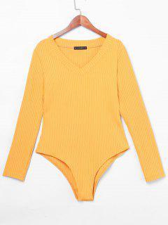 ZAFUL V Neck Ribbed Bodysuit - Mustard L