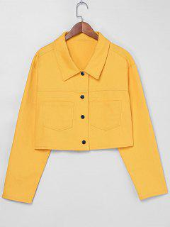 ZAFUL Snap Button Pockets Jacket - Bright Yellow S