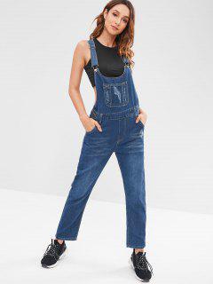 Denim Overalls With Pockets - Blue L