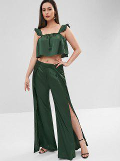 ZAFUL Sleeveless Top And Slit Pants Set - Deep Green M