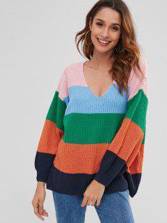 Oversized Color Block Sweater - Multi