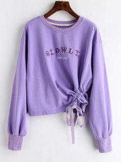 Letters Embroidered Sweatshirt With Tie - Purple