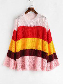 Openwork Bell Sleeve Color Block Sweater - Multi L