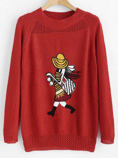 Mesh Panel Girl Embroidered Sweater - Red