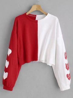 Heart Graphic Two Tone Sweatshirt - Red