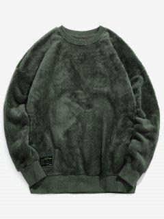 Solid Crew Neck Fluffy Sweatshirt - Army Green L