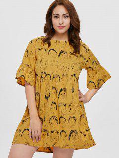 Plus Size Mini Printed Dress - Orange Gold 1x