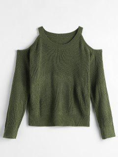 Solid Color Sweater With Cold Shoulder - Army Green