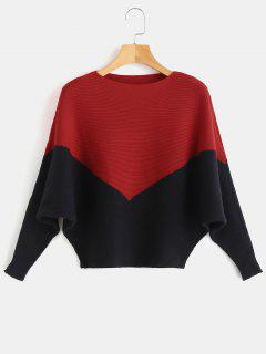 Batwing Sleeves Contrast Knitted Top - Red