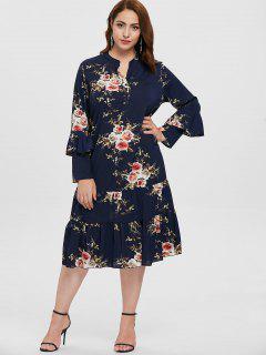 Plus Size Floral Dress With Flounce - Cadetblue 2x