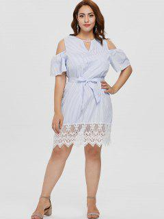 Plus Size Spitzeneinsatz Striped Cold Shoulder Dress - Multi 3x