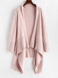 Open Front Asymmetrical Longline Cardigan - Pig Pink L