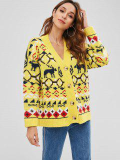 Deer Christmas Boyfriend Cardigan - Yellow