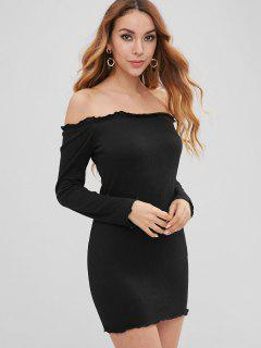 Lettuce Bodycon Off The Shoulder Dress - Black M
