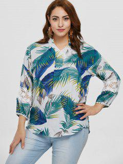Plus Size Palm Print Blouse - White 3x