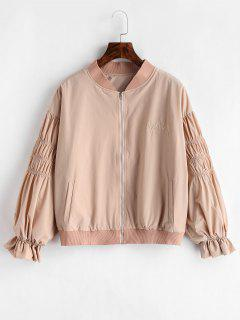 Ruffles Embroidered Jacket - Light Pink M
