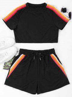 ZAFUL Striped Patched Top And Shorts Set - Black Xl