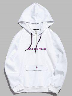 ZAFUL Embroidered Letter Pocket Hoodie - White L