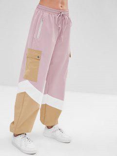 ZAFUL Color Block Drawstring Zip Jogger Pants - Pink L
