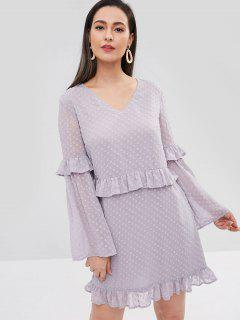 ZAFUL V Neck Flare Sleeve Ruffled Dress - Wisteria Purple S