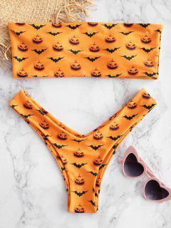 ZAFUL Pumpkin Bat Print Bandeau Bikini Set - School Bus Yellow S