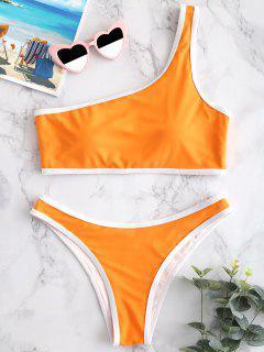 ZAFUL - Bikini-Set Mit Kontrastbesatz Und Einer Schulter - Halloween Orange L