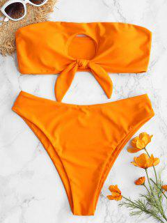 ZAFUL - Ensemble De Bikini Bandeau à Découpes Nouées - Orange Halloween L