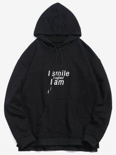 ZAFUL Split Hem Letter Pocket Hoodie - Black M
