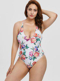 ZAFUL Plus Size Flower Backless Swimsuit - White L