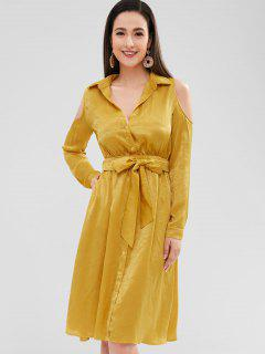 ZAFUL Cold Shoulder Belted Button Up Shirt Dress - Golden Brown S