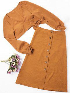 ZAFUL Wrap Top And Button Up Skirt Set - Light Brown M