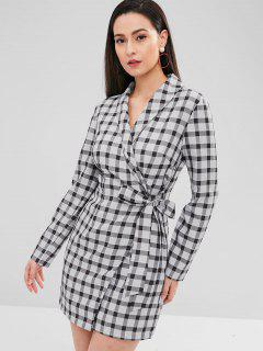 ZAFUL Long Sleeve Plaid Wrap Dress - Multi Xl
